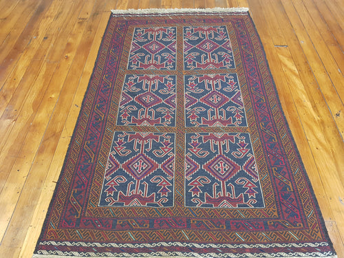 Hand knotted wool Sumack rug size  200 x 100 cm Afghanistan