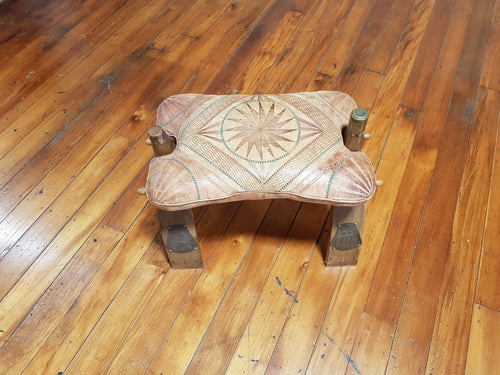 Foldable old seat with leather cushion seat