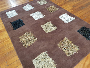 100% wool rug Dynamic Brown size 160 x 230 cm