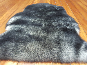Moroccan sheep skin rug ,black & grey color