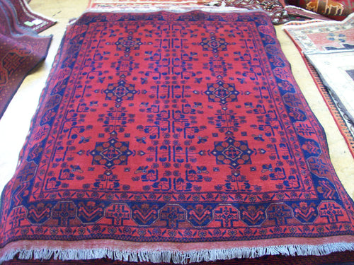 Hand knotted wool Rug 9063 size 187 x 154 cm Afghanistan