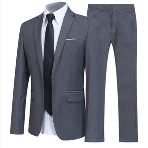 Plus Size Wedding Suit Set 2pcs Male Blazers Quality Slim Fit Suits for Men Costume Business Formal Party Blue Classic Blazer