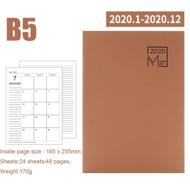 2020 Year Calendar Monthly Planner Months Daily Leather Notebook Personal 2021 Agenda Planner Organizer Business Office Supplies