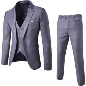 3 Pieces Business Blazer +Vest +Pants Suit Sets Men Autumn Fashion Solid Slim Wedding Set Vintage Classic Blazers Male