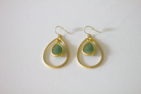 Hand Crafted Matte Gold Aventurine Pendant Earrings