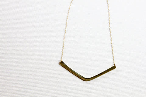 Artisan Crafted Minimalist Triangle Brass Necklace