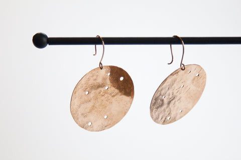 Handmade Bohemian Pounded Copper Constellation Earrings