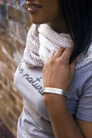 Handmade Brushed Silver Unisex Love Naturally Wrist Cuff