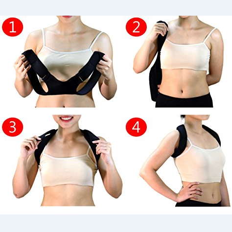 a women showing you how to wear a posture corrector