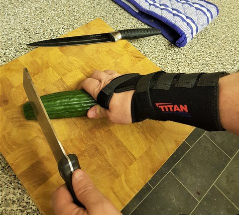 preparing food with a Wrist Support Brace