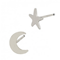 Star and Moon Stud Earrings - Gold or Silver