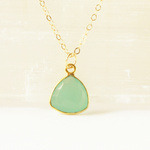 Aqua Chalcedony Heart Gem Necklace