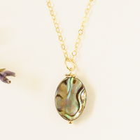 Abalone Circle Gem Necklace