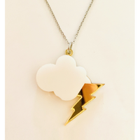Storm Cloud Lightning Bolt Necklace