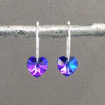 Iridescent Blue Heart Hoop Earrings