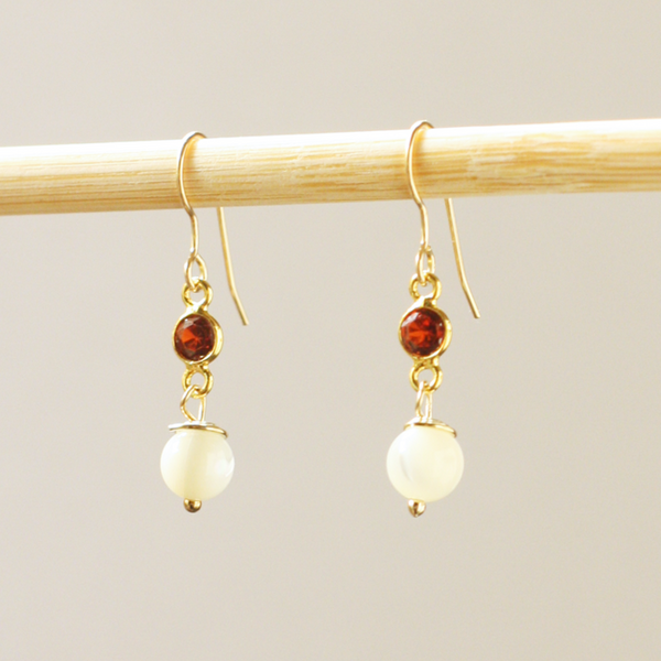 Garnet & Pearl Earrings