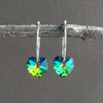 Iridescent Green Heart Hoop Earrings