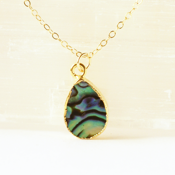 Abalone Teardrop Gem Necklace