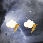 Cloud Lightning Bolt Hoops