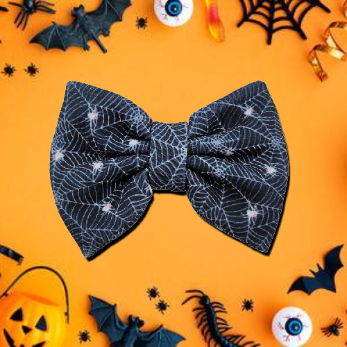 Black Spider Webs Hair Bow