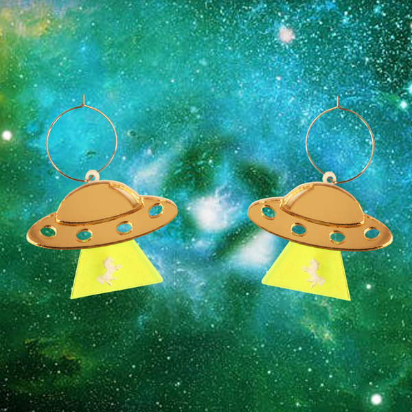 UFO Spaceships and Unicorns Earring Hoop