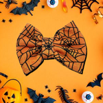 Orange Spider Webs Hair Bow