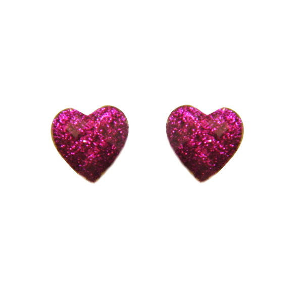 Glitter Purple Heart Earring