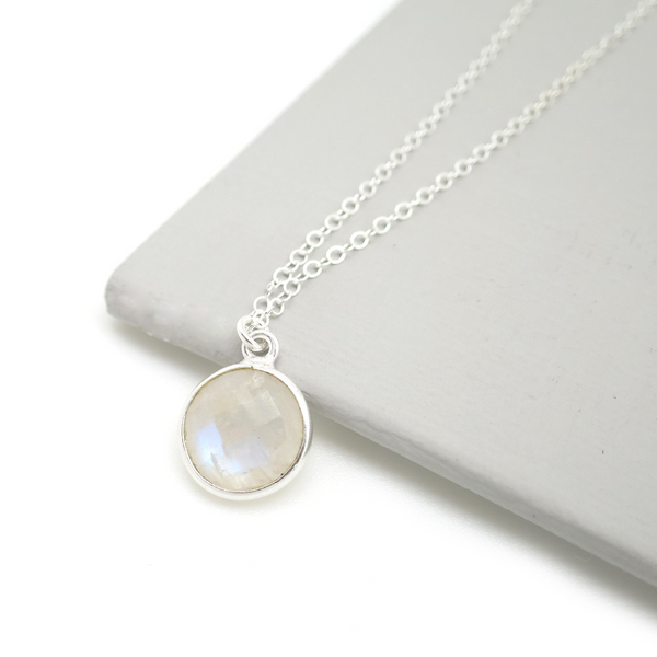 Moonstone Circle Gem Necklace