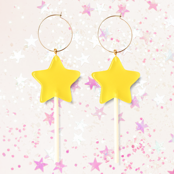 Yellow Star Lollipop Hoops