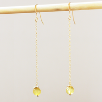 Long Dangling Citrine Earrings
