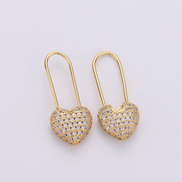 Heart Pin Sparkle Hoop Earrings