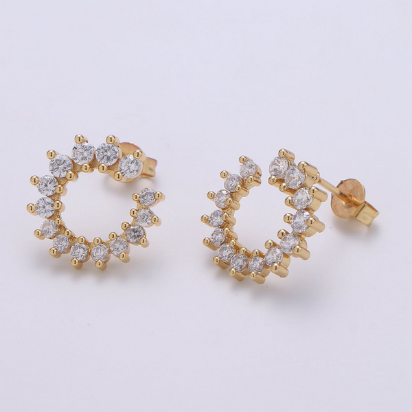 Sparkle Circle Gold Earrings