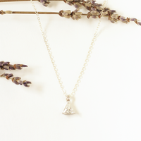 Sparkle Triangle Silver Charm Necklace