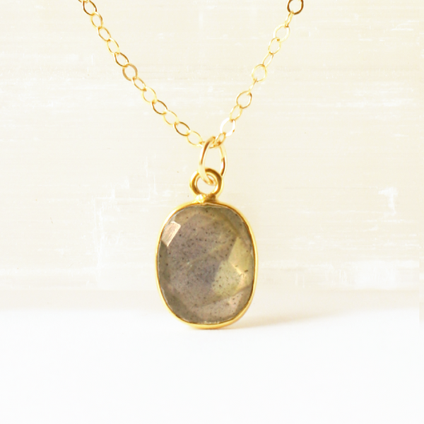 Labradorite Square Gem Necklace