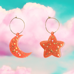 Shimmer Star & Moon Hoops
