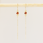 Dainty Garnet Dangle Earrings
