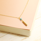 Bar and Turquoise Necklace - Gold