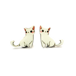 White Cat Earring