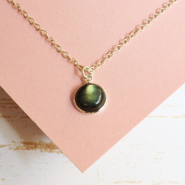 Labradorite Silver Puff Circle Gem Necklace