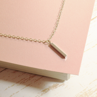 Silver Short Bar Charm Necklace