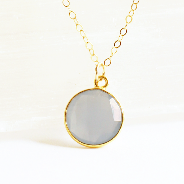 Blue Chalcedony Gem Necklace