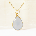 Blue Chalcedony Teardrop Gem Necklace