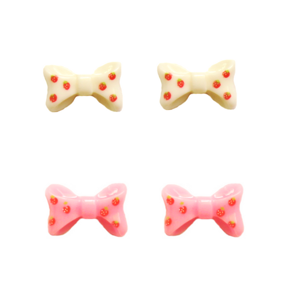 Strawberry Bow Earring - Pink and White