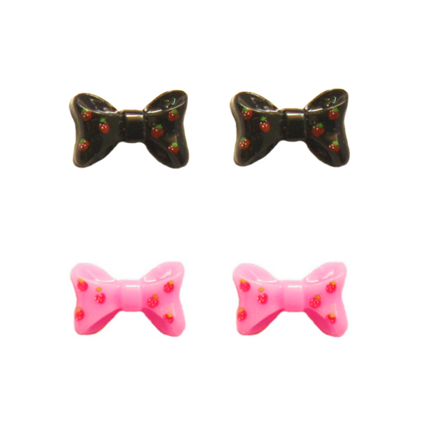Strawberry Bow Earring - Black and Pink