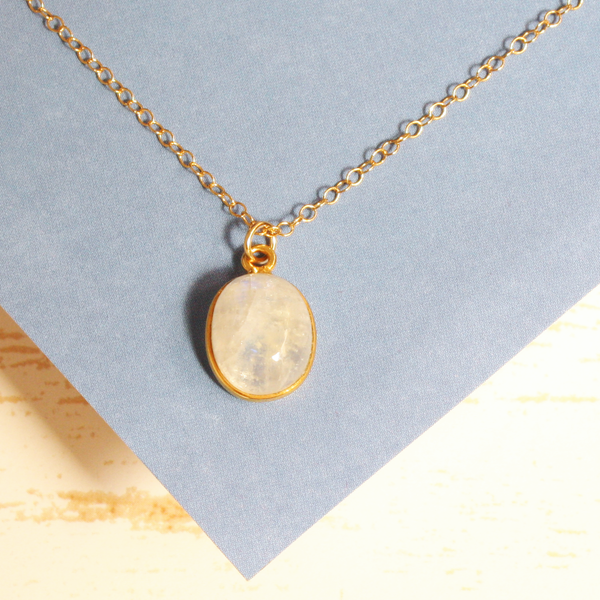 Moonstone Oval Gem Necklace