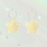 Holographic Shimmer Clear Star Hoop