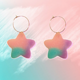 Purple Pastel Glitter Star Hoops