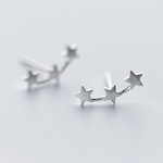 Triple Star Climber Stud Earrings - Gold or Silver