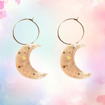 Holographic Shimmer Pastel Moon Hoops