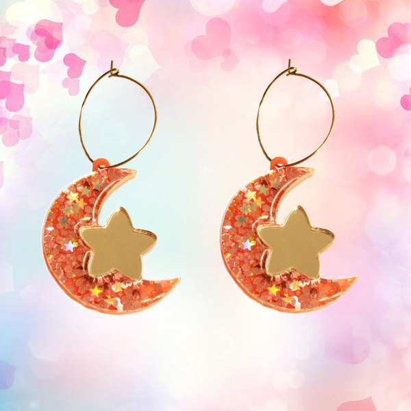 Glitter Pink Moon & Star Hoops